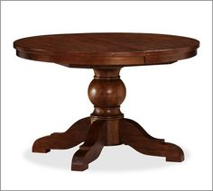 Pottery Barn Sumner Extending Pedestal Dining Table, Rustic Mahogany Stain