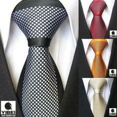 YIBEI Coachella Men's ties Border Polka Dot Spots Necktie Jacquard Woven Neck tie fashion Tie for men dress shirts