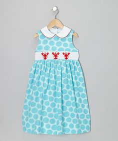 Take a look at this Turquoise Circle Lobster Smocked Collar Dress - Toddler & Girls by Velani Classics on #zulily today!