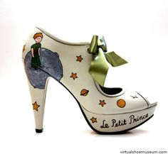 Le Petit Prince | virtualshoemuseum.com  Sanemiko white hand-painted pump.  • 100% Leather • Completely handmade and hand painted 2011. • Water-resistant  The Little Prince (Le Petit Prince), is a novelle published in 1943. The most famous work of the French aristocrat writer, poet and pioneering aviator Antoine de Saint-Exupéry (1900-1944).  © Sanemiko
