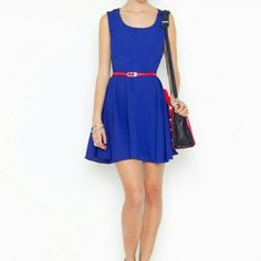 Nastygal blue flowing cut out dress Blue flowing dress with pretty cut out. Belt not included Nasty Gal Dresses