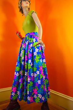 SuperGroovy 70s Floral Maxi Skirt  Homemade by SecretAgentGirl, $36.00