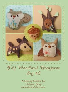 Felt Woodland Creature Pattern PDF. I'll be purchasing this soon to make the mobile for my baby's nursery. $5.00