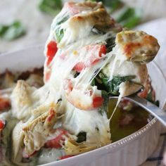 Easy pesto spinach artichoke chicken bake recipe
