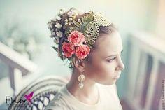 """Купить Цветы из шелка. Повязка для волос - """"Romantik Antike"""" - коралловый, ярко-коралловый, цветы из шелка"""