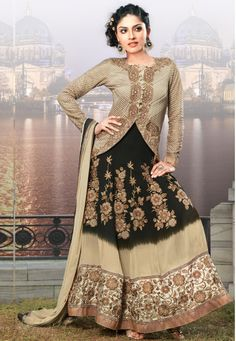 """""""Chikoo And Black Georgette kameez designed with Zari,Resham Embroidery with stone work and pat ch patta Work. Available with Chikoo Santoon Bottom with matching Chiffon Dupatta.  INR:-7570 -With Exciting 25% Discount !"""