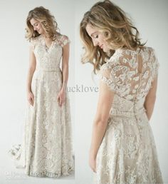 Wholesale Bridesmaid Dresses - Buy 2013 Lace Back Wedding Dresses A Vintage Inspired Lace Back Wedding Dress Glamorous with Short Sleeves Summer Beach Wedding Gowns B O1081, $125.79 | DHgate