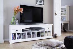 TV Lowboard Tisch Ramatuelle TV Schrank TV Möbel Landhaus Landhausstil Shabby Chic weiss massiv neu