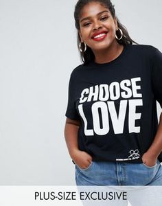 de80ec0985272 Help Refugees Choose Love Curve t-shirt in black organic cotton