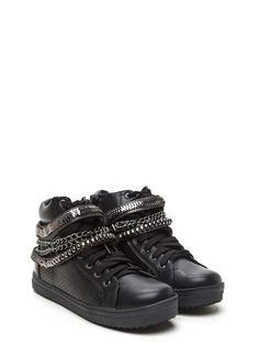 Chain Gang High Top Sneakers BLACK GOLD - GoJane.com