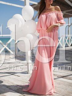Pink Half Sleeve Off The Shoulder Maxi Dress 25.29