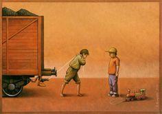 Satira e illustrazione possono andare d'amore e d'accordo? Si se l'artista è Pawel Kuczynski che critica la società su grossi temi come fame, povertà, politica
