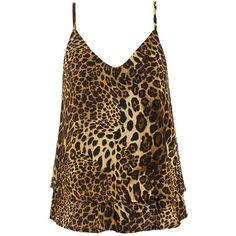 Sans Souci Brown leopard print cami top ( 24) ❤ liked on Polyvore featuring  tops ad94eb918