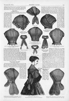 Harper's Bazaar Historical Costume, Historical Clothing, Civil War Fashion, Civil War Dress, Victorian Costume, 19th Century Fashion, Vintage Knitting, Harpers Bazaar, Fashion Plates