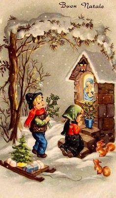 Old Christmas Card — Images Vintage, Vintage Christmas Images, Christmas Scenes, Old Fashioned Christmas, Antique Christmas, Christmas Past, Retro Christmas, Vintage Holiday, Christmas Pictures