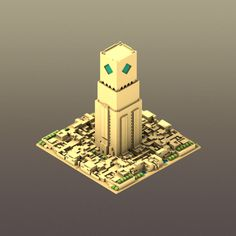 Illustrations of ciities and landscapes in Voxel