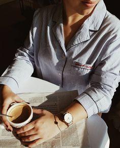 Morning, coffee, Cluse watch, sun