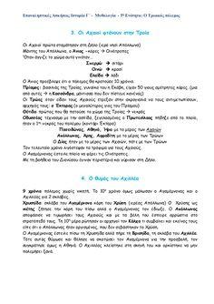Επαναληπτικές Ασκήσεις Ιστορίας Γ΄ - 5η Ενότητα: Ο τρωικός πόλεμος