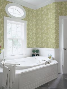 A wonderful grassy green hue makes this botanical wallpaper trail effortlessly across walls. A beautiful silhouette design accented with light pink berries. http://lelandswallpaper.com
