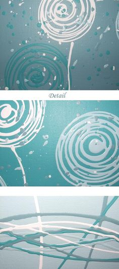 Teal Blue Aqua White Original Abstract by StephanieAbstractArt