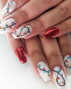 Christmas Gel Nails, Xmas Nail Art, Christmas Nail Art Designs, Holiday Nails, Winter Nail Designs, Christmas Makeup, Nail Art For Christmas, Easy Nail Art Designs, Best Nail Designs