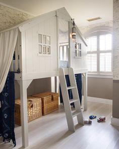 Lofted child/toddler play hose bed ~ Alexandra Loew via Desire To Inspire