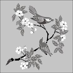 Japanse Vogels & Bloesem No 3 stencils, stensils en stencles