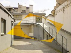 """Optical illusion street art. View this piece from the """"wrong angle"""" at http://www.streetartutopia.com/wp-content/uploads/2011/01/Felice-Varini_Jan11_3_u.jpeg"""