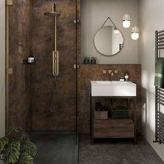 Cozy Bathroom, Copper Bathroom, Small Bathroom, Bathroom Ideas, Washroom Tiles, Bathroom Wall Panels, Industrial Showers, Linda Barker, Cleaning Walls