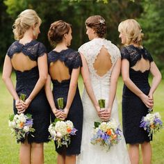 Charming Elegant Lace Navy Blue Open Back Knee-Length Short Mini Cap Sleeve Cheap Bridesmaid Dresses, BG0036