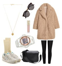 """""""teddy coat  outfit"""" by nemethkam on Polyvore featuring Dsquared2, New Balance, River Island, Casio, Illesteva, Smith & Cult, Vanessa Mooney, NewBalance, fluffycoat and teddycoat"""