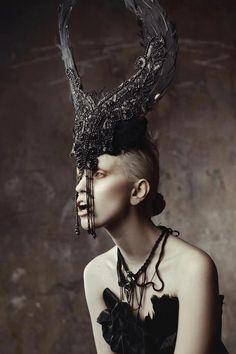 Headpiece # black # feathers #  beads # dramatic
