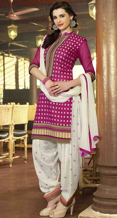 USD 31.53 Magenta Cotton Jacquard Punjabi Suit 47506