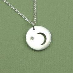 Diamond Moon Necklace  sterling silver  pendant  by TheZenMuse, $39.00