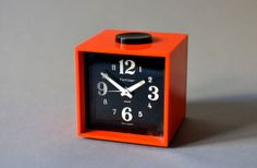 Vintage alarm clock West German black red Fichter by MightyVintage