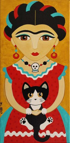 FRIDA Kahlo en robe rouge avec chat Folk Art PRINT par thatsmycat