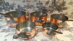 Copper Pans Les Cuivres de Faucogney Set of Five Vintage French Copper…