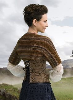 Outlander the Series Kit: Claire's Captivating Castle Leoch Shrug (Knit). Each kit includes all the yarn you need for the project, as well as a copy of the pattern.