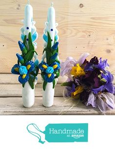 Taper Carved Candles - taper candle light blue - Taper Candles with Irises - Taper Candle handmade - Home decor - best gift - decor from Royal Candles https://www.amazon.com/dp/B071GD122H/ref=hnd_sw_r_pi_awdo_r1cqzb6JVW9QM #handmadeatamazon