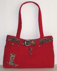 Red Jean Bag #Leopard accents $25 & less at: https://poshmark.com/closet/haveheartdailys?availability=all&spt=true