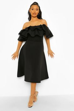 Bonded Scuba Off The Shoulder Frill Sleeve Midaxi Dress Maxis, Cheap Dresses, Prom Dresses, Skater Dresses, Off The Shoulder, Cold Shoulder Dress, Scuba Dress, Bodycon Fashion, Fashion Face