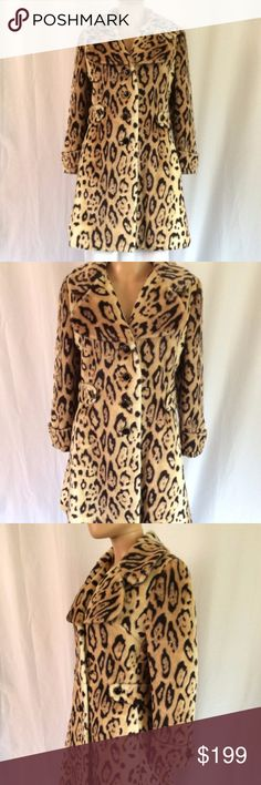 Luxe Vintage 1960s Faux Fur Leopard Print Coat M Vintage luxe 1960s faux fur leopard print coat, fully lined in black satin, has attached decorative back-belt that's sewn on, hidden side pockets, very good condition,  the last button was replaced, but is also of the period and blends in with the rest *remarkably* well! Thick and fairly heavyweight, the faux fur is very good quality, Clean by Furrier Method only, bust 38, waist 36, hips 44, length 35, sleeve length 22.5, shoulder to 16.5…