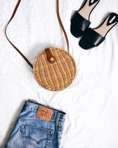 zara round rattan straw bag; katiquette