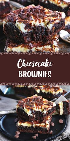 These Cheesecake Brownies are a mouth watering combination of two dessert favorites. Extra fudgy brownies topped with a creamy cheesecake layer makes for an ext Brownie Desserts, Chocolate Chip Cheesecake, Cheesecake Brownies, Best Dessert Recipes, Brownie Recipes, Chocolate Desserts, Cheesecake Recipes, Delicious Desserts, Bolo De Chocolate