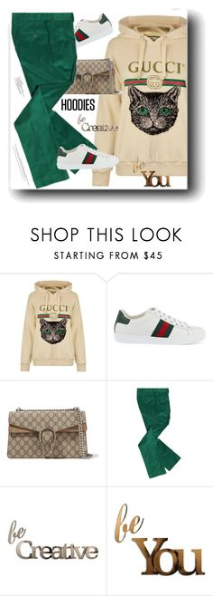 """In My Hood: Cozy Hoodies"" by snezanamilunovic ❤ liked on Polyvore featuring Gucci, Letter2Word and Hoodies"