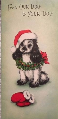 VTG MC DARLING PUPPY IN SANTA HAT WREATH USED CHRISTMAS CARD