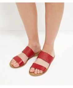 Dark Red Leather Woven Strap Sandals  | New Look