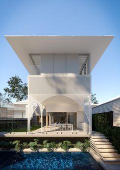 Brisbane Architecture, Arch Architecture, Modern Architecture House, Australian Architecture, Minimal Architecture, Arch House, Facade House, Facade Design, Villa Design