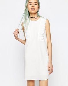 ASOS+Shift+Dress+with+Frill+Detail+in+Natural+Fibre