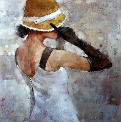 "SOLD- Le Chapeau Jaune Neuf, 24"" x 24"", Oil by Andre Kohn  In love with this piece? Contact us for a commission.   http://www.andrekohnfineart.com/"